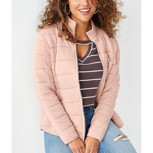 New MAURICES RTV Pink Quilted Zip Up Jacket Sz L